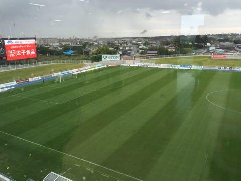雨のスタジアム