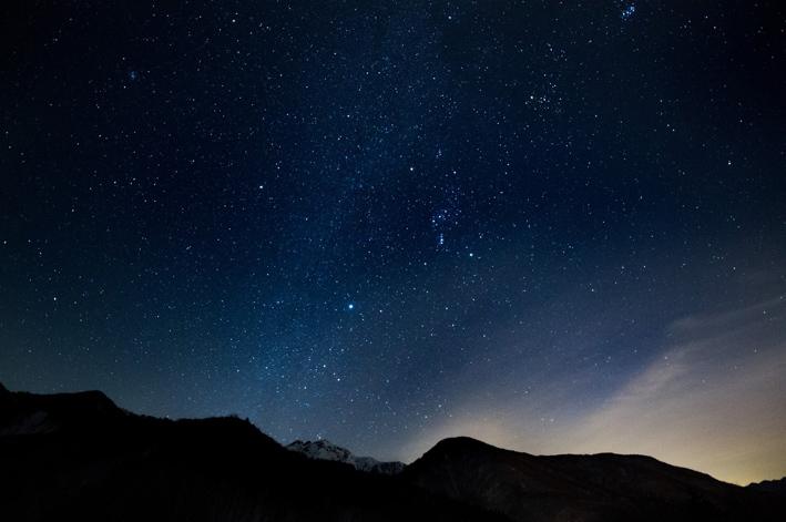 北アルプスの星空