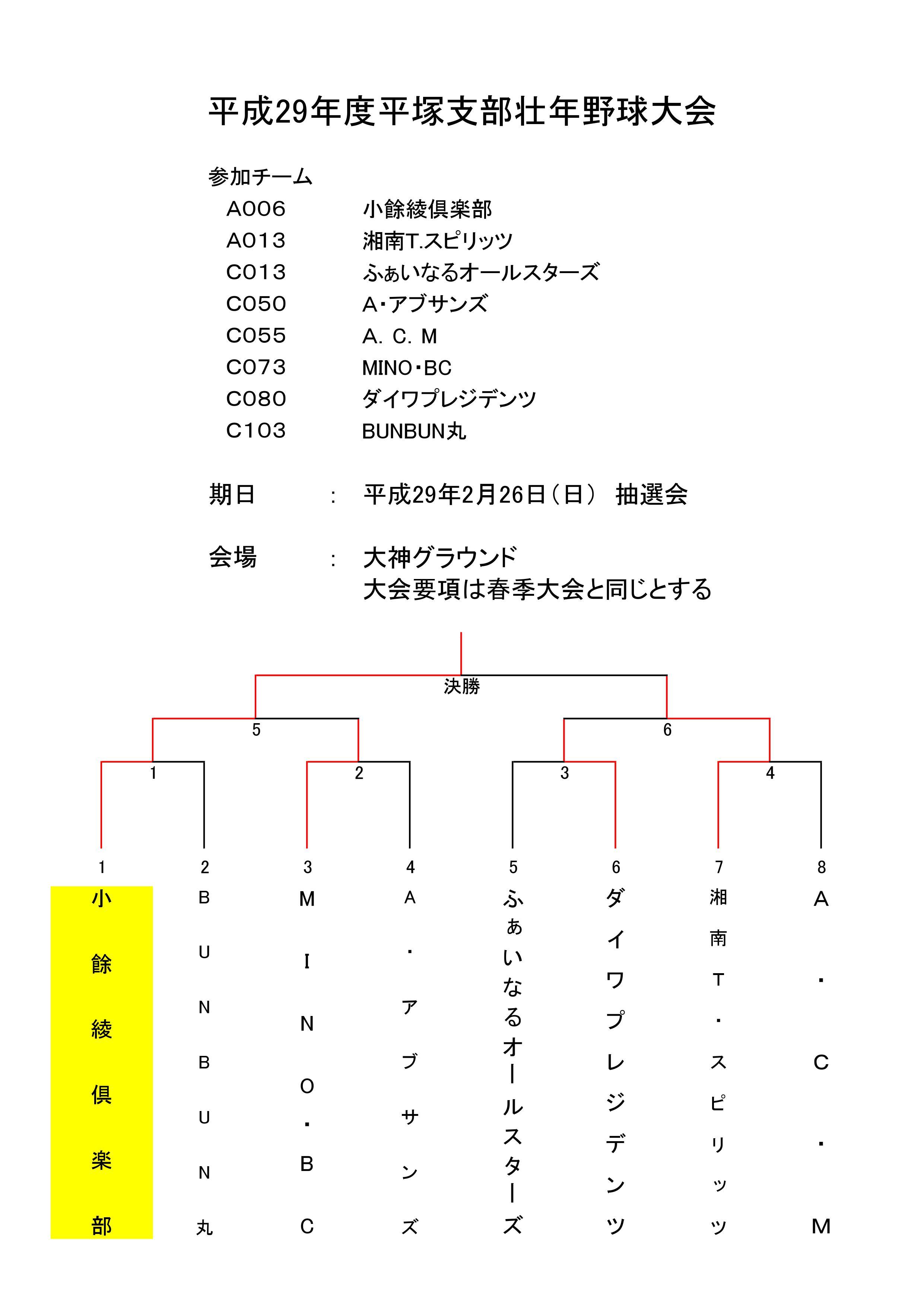 29年度壮年大会結果トーナメント表