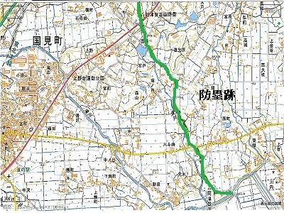 福島県国見町阿津賀志山防塁跡周辺地形図