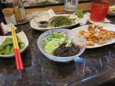 もずく酢とサキイカ天ぷら