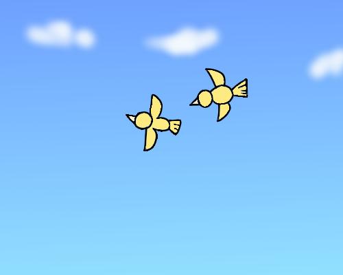 青空に鳥たち