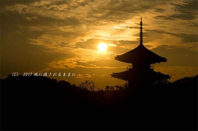 奈良・法起寺 夕景 2017年11月3日撮影3