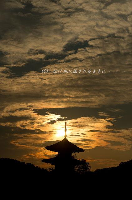 奈良・法起寺 夕景 2017年11月3日撮影4