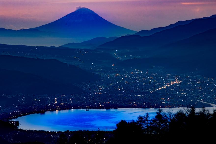 諏訪湖と富士山 (1)