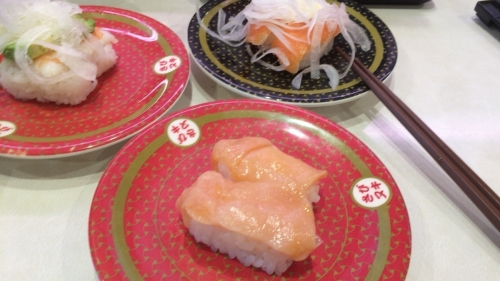 えびアボガドと赤貝&オニオンサーモン