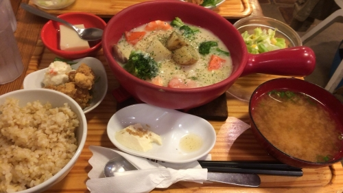 豆腐ハンバーグ 豆腐のクラムチャウダー仕立定食