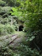 廃線のトンネルと線路