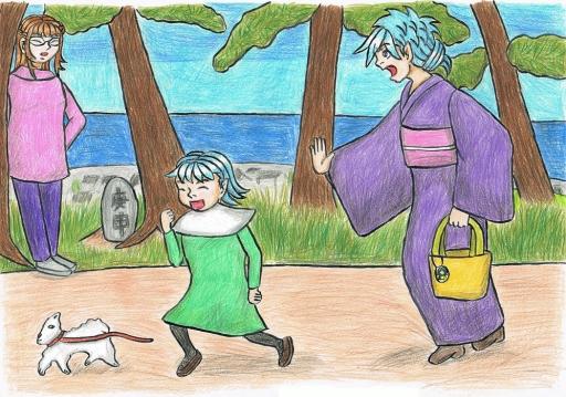 飛田さんと犬を追いかける親子1000