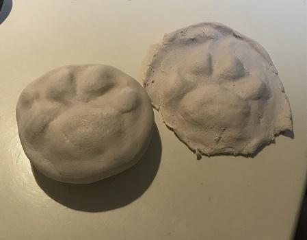 石粉粘土で立体足形