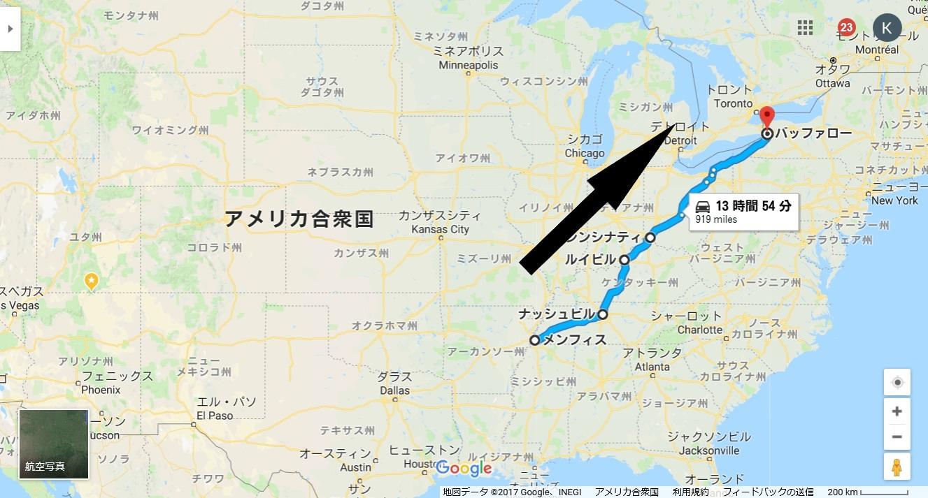 地図_メンフィス→バッファロー