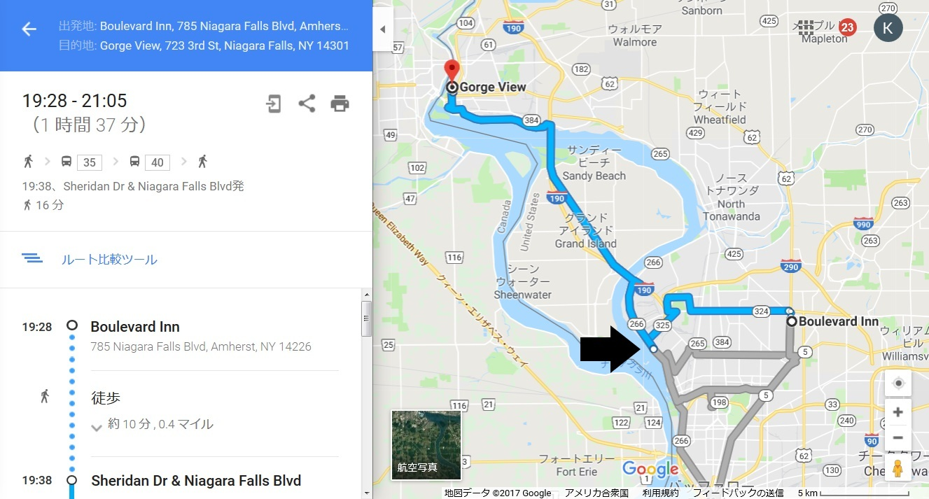 地図_バッファロー→ナイアガラ