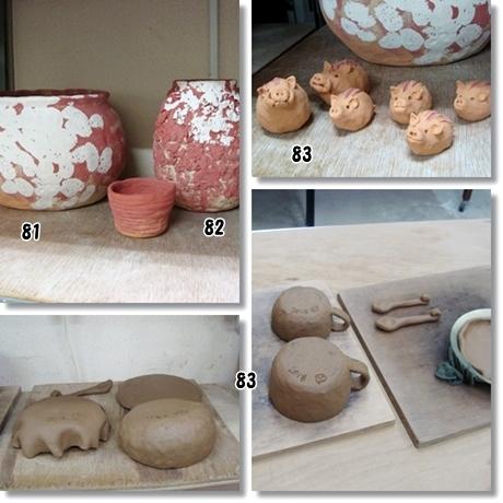陶芸イノシシ素焼き