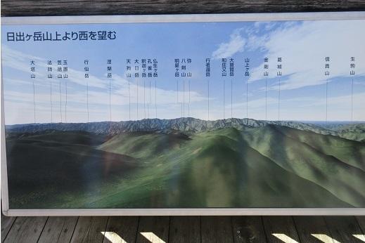10 日出ヶ岳より大峰山系・説明看板