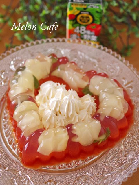 二層のゼリー野菜ジュースと桃缶06