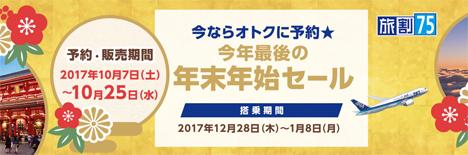 ANAは、今年最後の年末年始セールを開催、羽田~伊丹6,500円、羽田~那覇8,500円!