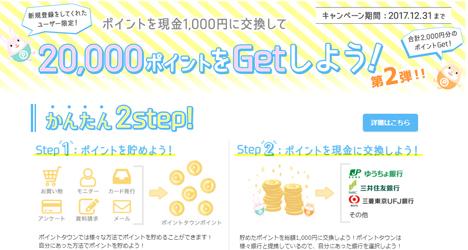 貯まったポイントを初めての現金交換すると、20,000ポイントがもらえるキャンペーン
