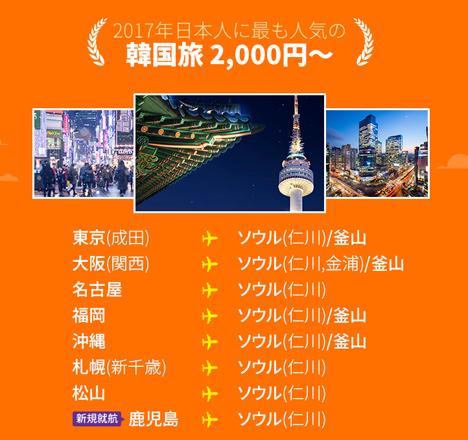 チェジュ航空は、年間搭乗者数1,000万人達成を記念して、日韓線が片道2,000円~のセールを開催!2