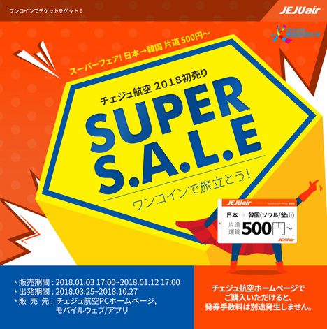 チェジュ航空は、日本~韓国線がワンコイン片道500円~の「2018初売りSUPER SALE」を開催!