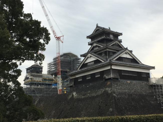 2017年末現在の熊本城天守閣