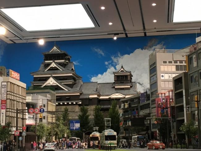 ミニチュアワークで再現された熊本の街