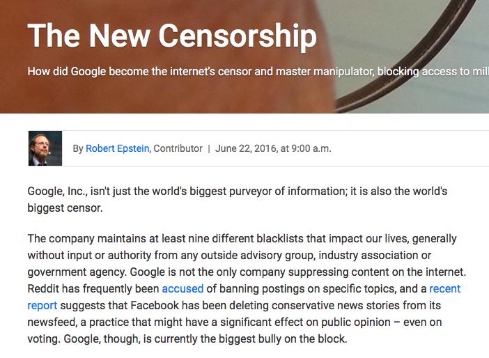 グーグルの言論弾圧