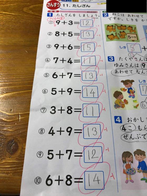 算数 さくらんぼ計算 足し算 小学校