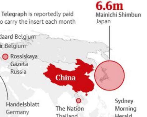 """英・ガーディアン紙、中国が海外の30以上のメディアを利用しプロパガンダ工作してることを暴露 … 日本では""""発行部数660万部""""のあの新聞の名前"""