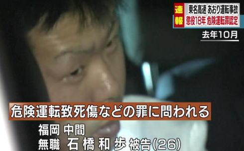 東名あおり運転事故、石橋和歩被告(26)に対して懲役18年の判決 … 横浜地裁「進路を4回に渡って妨害した行為は危険運転にあたり、停車後の事故でも危険運転致死傷罪を適用できる」