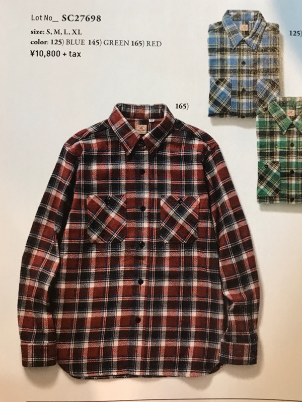 "SUGAR CANE ""TWILL CHECK WORK SHIRT""②【横田店】"