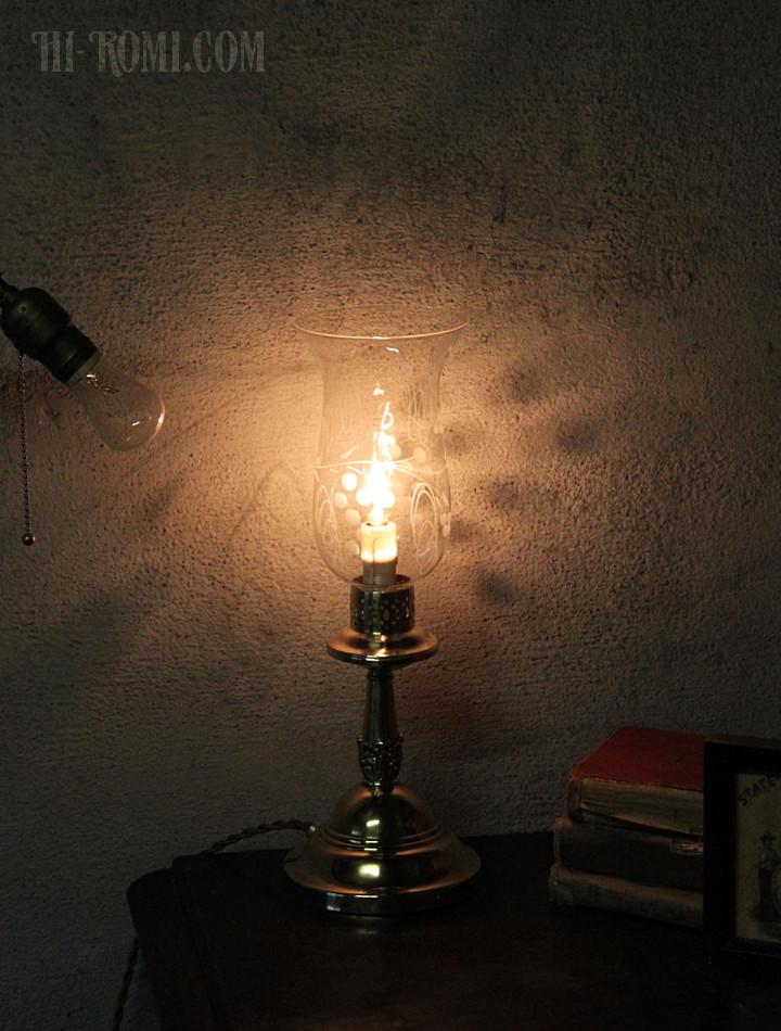USAヴィンテージ卓上照明葡萄柄ガラスチムニーテーブルライト