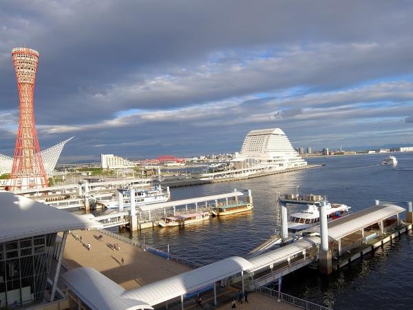 神戸ハーバーランドのホテルから見た神戸港〔フリー写真〕