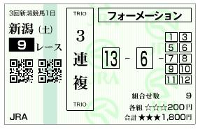 【馬券】1013新潟9R(長生式馬券スタイル)