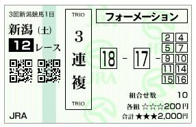 【馬券】1013新潟12R(長生式馬券スタイル)
