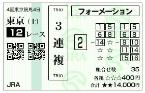 【馬券】1013東京12R(長生式馬券スタイル)