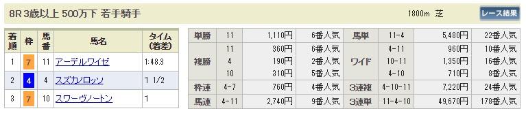 【払戻金】1020新潟8R(長生式馬券スタイル)