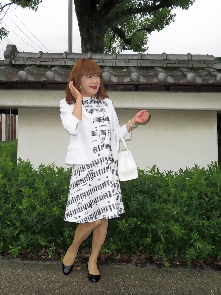 音符柄ワンピ白ジャケットA(3)