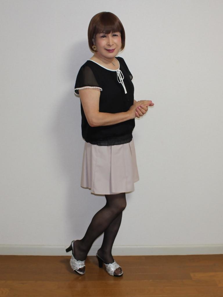 黒半袖シフォンブラウス(7)