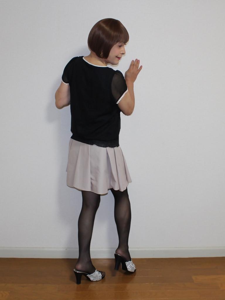 黒半袖シフォンブラウス(8)