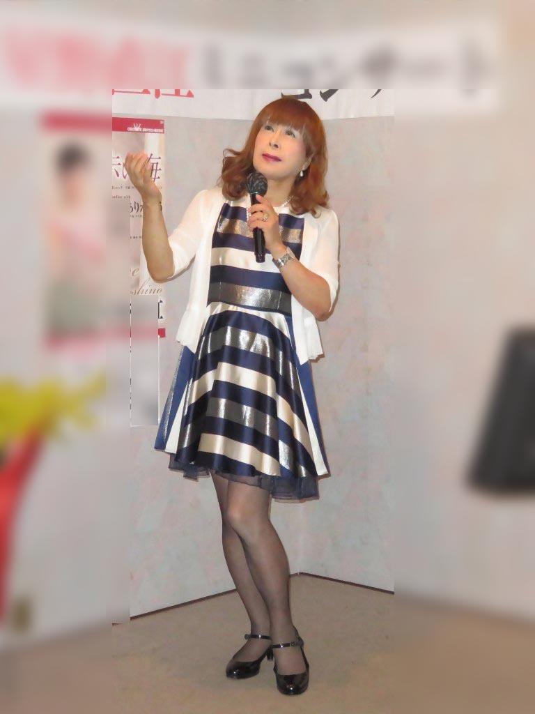 青銀白三色ボーダー柄ワンピカラオケ(1)