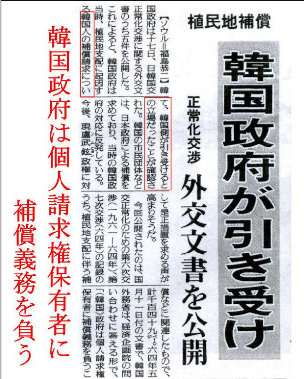植民地補償 韓国政府が引き受け(20050117読売新聞)