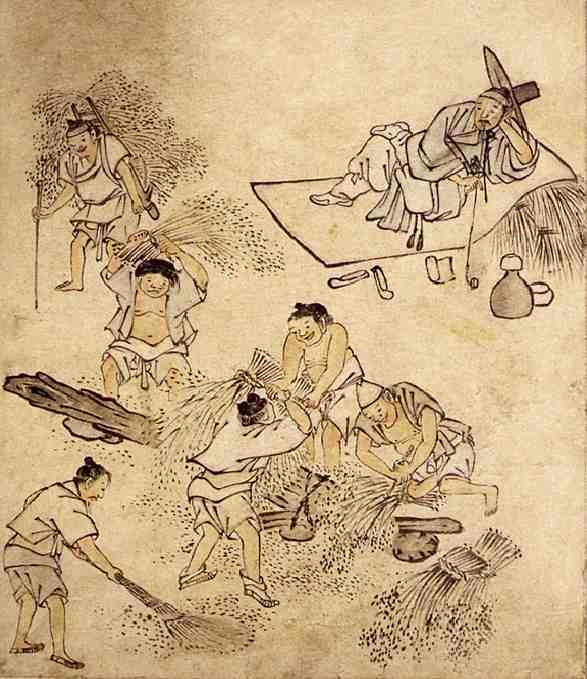 韓国では、特権階級の両班は働いてはいけなかった。この絵でも、農民を働かせ、自分は寝そべっている姿が描かれている。