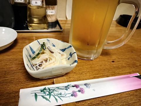 生ビール+サービスの春雨サラダ@なまらぴりか