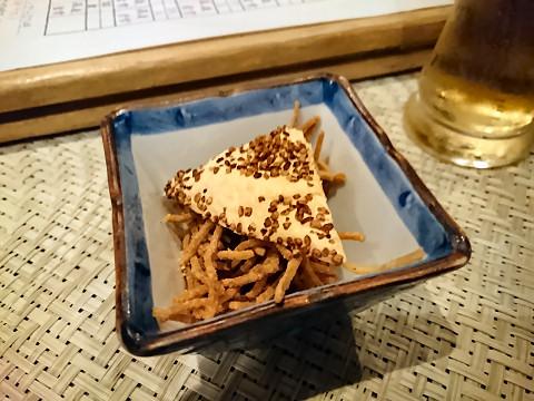 生ビール+突き出し@そば居酒屋るちん