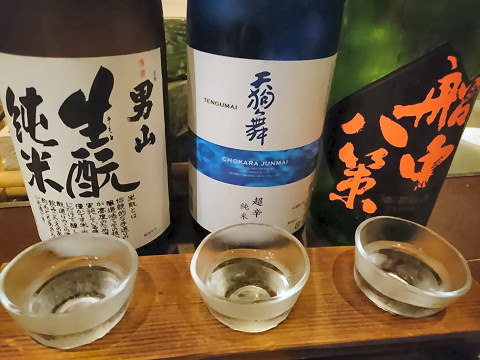 カウンター限定日本酒利き酒3種@そば居酒屋るちん
