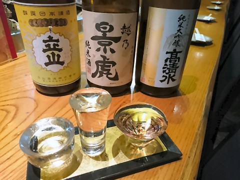 おまかせ地酒飲みくらべ3種@豆助