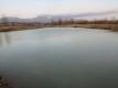 ため池の氷が融け始めた