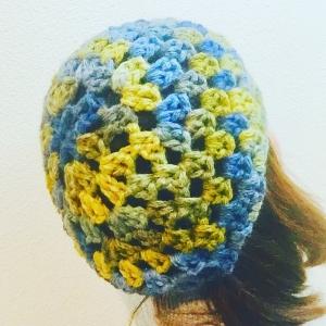 ジャンボ編みのベレー風ニット帽①