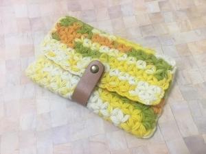 リフ編み三つ折りポーチ①