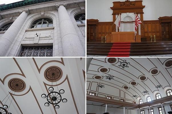 左上・大講堂正門アーチ部分、右上・菊の御紋を象った式台、左下・船を舵輪を模したシャンデリア、右下・2階回廊の様子